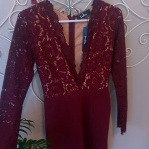 """Lulu's Dresses - Lulu's """"Swoon-er Or Later"""" Lace Bodycon Burgundy"""